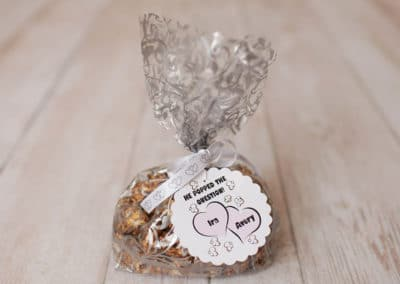 Wedding favor bag of gourmet flavored popcorn