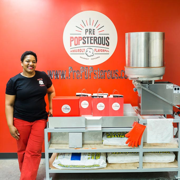 Tisha at ribbon cutting for PrePOPsterous.